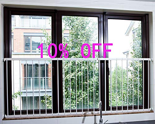 Fairy Baby Child Window Guards for Children Safety Window Gate Security Bars White,Fit 61.8-87.4 Inches Wide(3-7 Days -