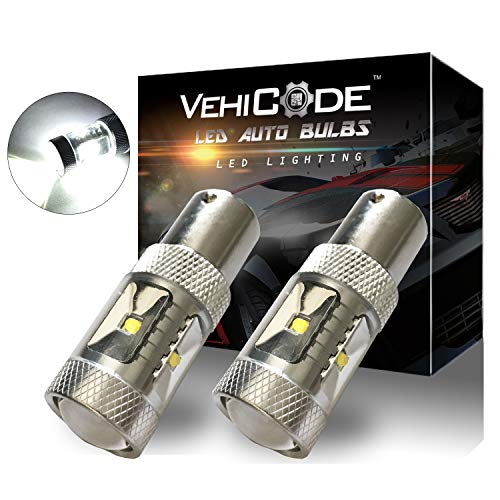 VehiCode 1300 Lumens 1156 (7506/1141/1003/BA15S/P21W) LED Light Bulb (6000K Natural White) Kit - High Power 30W Cree X-BD Replacement for RV Camper, Backup Reverse Lights, Daylight (DRL) (2 Pack)