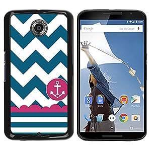 Paccase / SLIM PC / Aliminium Casa Carcasa Funda Case Cover para - Sailor Seaman Ship Anchor Teal White - Motorola NEXUS 6 / X / Moto X Pro
