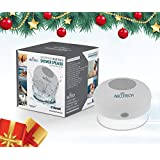 Abco Tech Water Resistant Wireless Bluetooth Shower Speaker with Suction Cup and Hands-Free Speakerphone, White