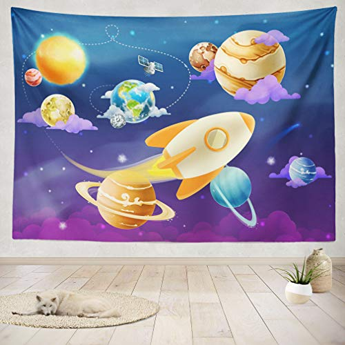 ASOCO Tapestry Wall Handing Solar System of Planets Wall Tapestry for Bedroom Living Room Tablecloth Dorm 60X60 Inches by ASOCO