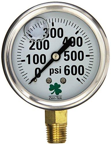 600 Psi Pressure Gauge - Zenport LPG600 Zen-Tek Glycerin Liquid Filled Pressure Gauge, 600 PSI
