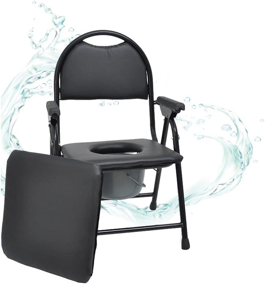 ラグジュアリートイレシート折りたたみ妊娠中の女性それはトイレシニアを移動することができますトイレ椅子エクストラクトドロー二重使用バケツブラック