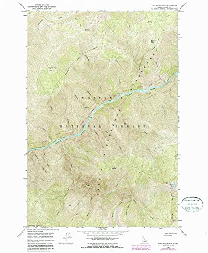 YellowMaps Fog Mountain ID topo map, 1:24000 Scale, 7.5 X 7.5 Minute, Historical, 1966, Updated 1987, 26.8 x 22 in - Paper