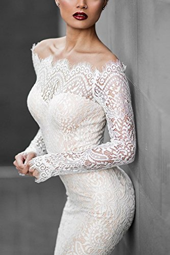 Del Maxi Larga Cuello Manga Vestido Fuera Encaje Mujer White Elegante Tirantes Sirena De Barco Sin Hombro wvIq4n6