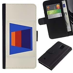 Be-Star la tarjeta de Crédito Slots PU Funda de cuero Monedero caso cubierta de piel Para Samsung Galaxy Note 4 IV ( Abstract Lines Pattern 3D Art Blue )