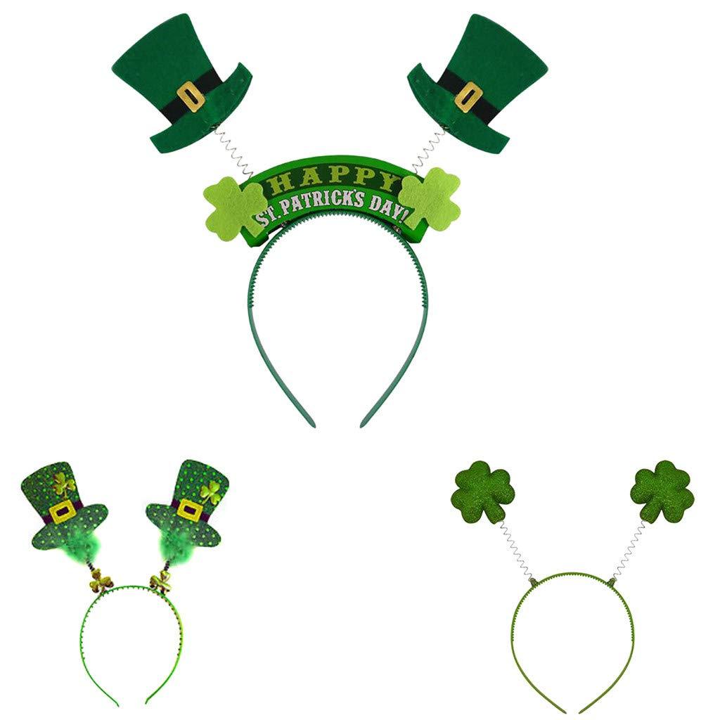 St. Patrick's Day Headband Hat Shamrock Green Irish Decorations Headband for Party Adults Teens Kids☘ (A)