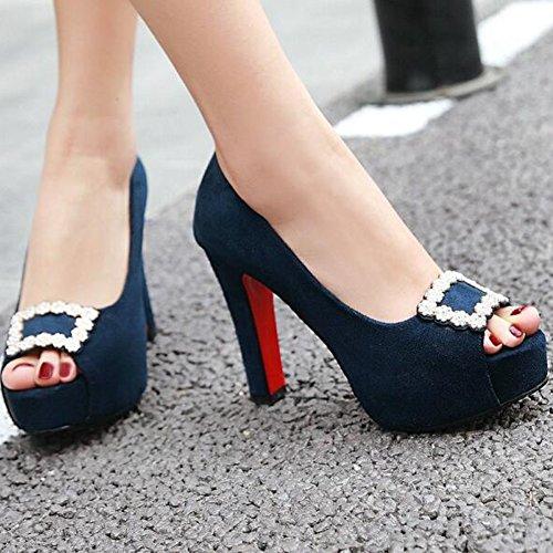 Bleu forme Givré Peep Chunky Sandales Talon Strass De Toes À Femmes Sexy Aisun Plate O4q6w