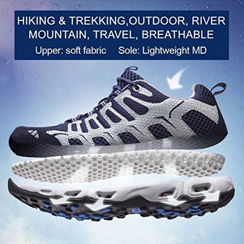 Dabbqis Hiking Shoes for Men Trail Running Walking Shoes Sneakers Lightweight Athletic Trekking Boot Water Shoes (8.5, Blue)