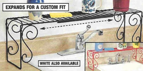 Expandable Scroll Metal Over The Sink Shelf - Black - Wrought Iron Sinks