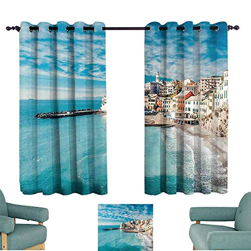 Mannwarehouse Italy Printed Curtain Panorama of Old Italian Fishing Village Beach in Old Province Coastal Charm Image for Living, Dining, Bedroom (Pair) 55