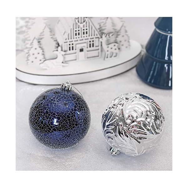 Valery Madelyn Palle di Natale 9 Pezzi 10cm Palle di Natale, Winter Wishes Argento e Blu Infrangibile Palla di Natale Ornamenti Decorazione per la Decorazione Dell'Albero di Natale 6 spesavip