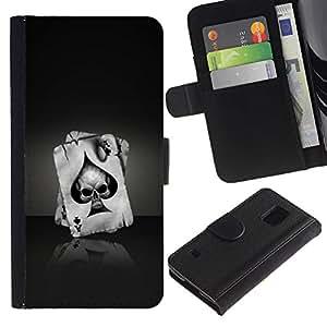 Billetera de Cuero Caso Titular de la tarjeta Carcasa Funda para Samsung Galaxy S5 V SM-G900 / Ace Of Spades Skull / STRONG