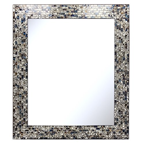 Multi-Colored & Silver, Luxe Mosaic Glass Framed Wall Mirror, Decorative Embossed Mosaic Rectangular Vanity Mirror / Accent Mirror (30