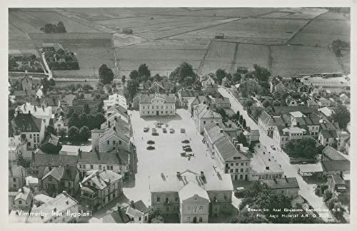 Vintage photo of Vimmerby postcard. Aerial view of Vimmerby