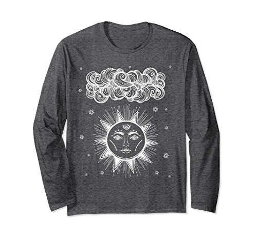 Unisex Astrology & Tarot L/S T-Shirt: Mystic Ancient Sun God 2XL Dark - Dark Sun Classes