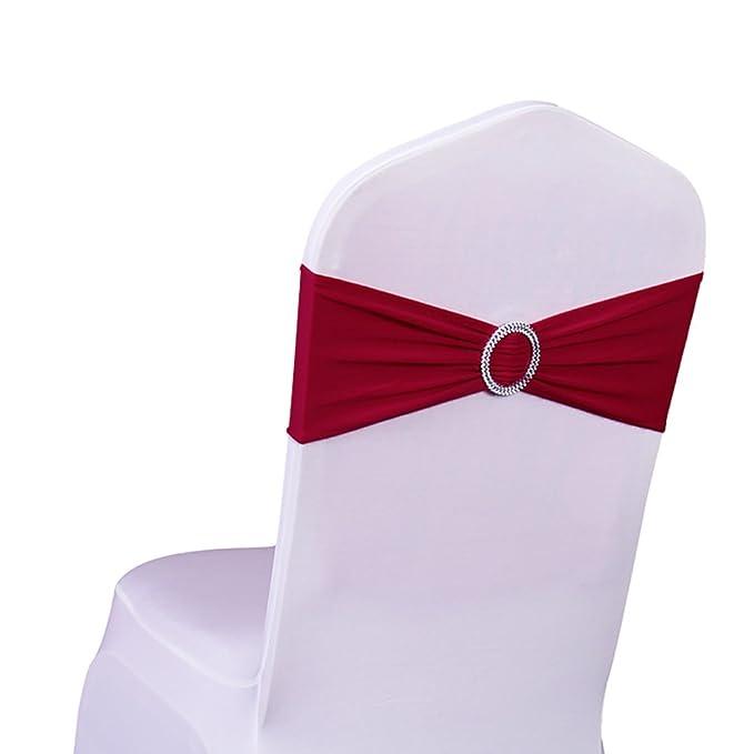 100 Fundas de silla de material spandex con bandas y lazos perfecto para decoracion de boda, fiesta, banquete.