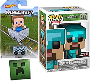 Minecraft Exclusive Funko Steve Figure in Diamond Armor with Sword Pop! Games Series Exclusive Blue Vinyl + Hot Wheels Minecart Block Car & Foil Sticker Bundle