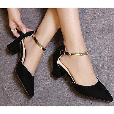 Y ggx Trabajo Mujer Con Bajo oficina satén zapatos Lvyuan Luz tacón Black Informal tacones HSdzz