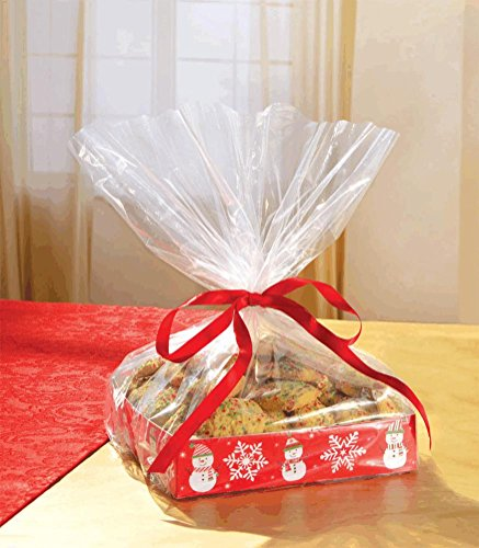 Amscan 2 Count Christmas Snowman Kraft Treat Cardboard Trays with 2 Cello Bags and 2 Ribbon, 1-1 2