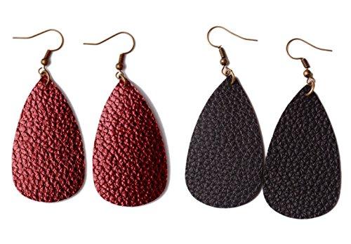 L&N Rainbery Teardrop Leather Earrings Antique Looking 2 Pairs Pack (Burgundy+Black) (Leather Jewelry Burgundy)