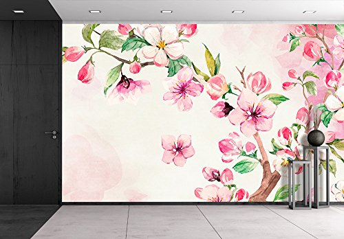 Large Wall Mural Watercolor Style Ink Painting Pink Cherry Blossom on Branch Vinyl Wallpaper Removable Wall Decor
