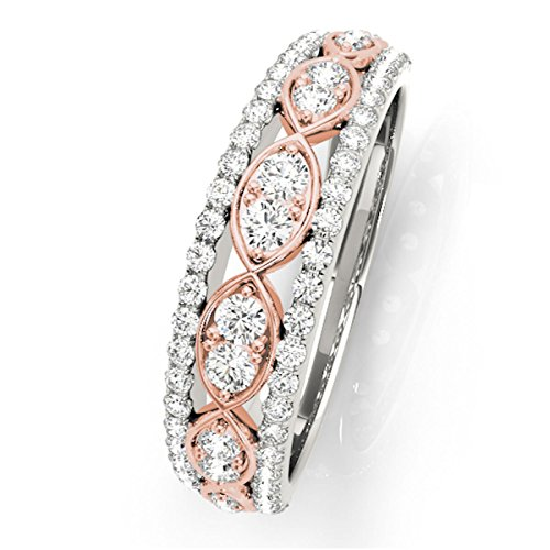 MauliJewels 1/2 Carat Two-Tone Diamond Wedding Band in 14K Solid Rose & White Gold