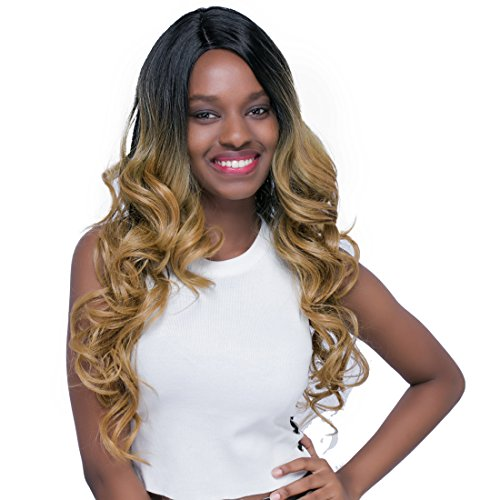 Touch Of Romance Halloween Costumes (BESTUNG Blonde Mix Dark Roots 26 Inch Natural Long Wavy Curly Wigs Romance Curl Lace Front Synthetic Wigs for Black Women)