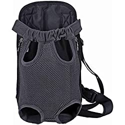 Gracefur Pet Front Backpack Carrier Cute Legs Out Top-Load Dog Travel Carrier Adjustable and Protable for Dogs, Cats, Small Pets Grey S