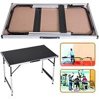 DXP Table à tapisser pliantes en aluminium multiusage table de camping à hauteur réglable 100x60x (73/80/87/94) cm portable