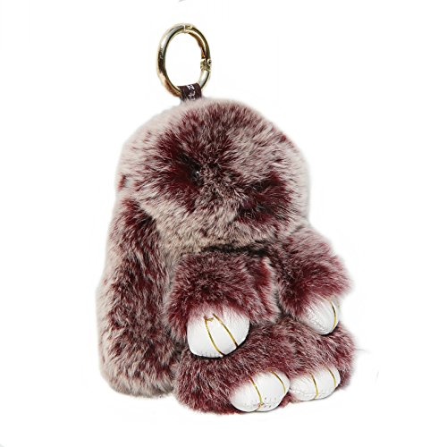 (RitzyBay Handmade Rex Rabbit Fur Bunny Keychain with RitzyBay GiftBox (Small, SnowtopWineRed))