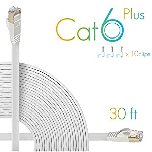 AOFORZ - Ethernet Cable Cat6 Plus 30ft - White Flat High speed Internet Network cable with Cable Clips - Computer Cable With Snagless Rj45 Connectors - 30 feet White (10 Meters)