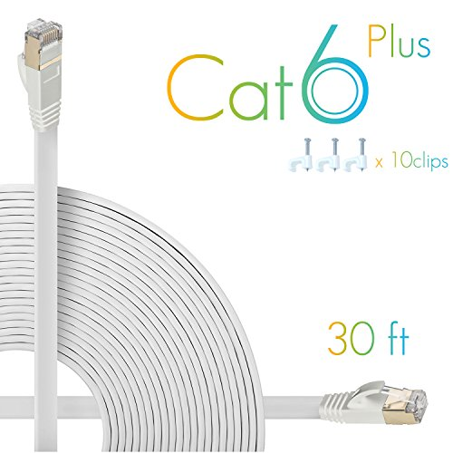 AOFORZ - Ethernet Cable Cat6 Plus 30ft - White Flat High Speed Internet Network Cable with Cable Clips - Computer Cable with Snagless Rj45 Connectors - 30 feet White (10 Meters) (Best Internet Speed Meter For Pc)