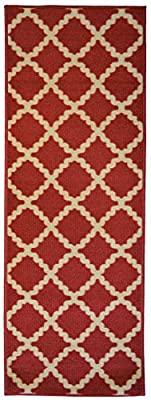 Adgo Collection, Modern Live Red and Beige Contemporary Mediterranean Design Rubber-Backed Non-Slip (Non-Skid) 20x59 Runner Rugs | Thin Low Profile Indoor/Outdoor Floor Runner