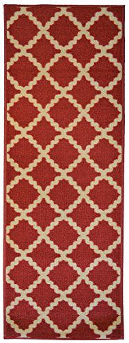 Adgo Collection, Modern Live Red and Beige Contemporary Mediterranean Design Rubber-Backed Non-Slip (Non-Skid) 20x59 Runner Rugs | Thin Low Profile Indoor/Outdoor Floor - Thin Rug Runner