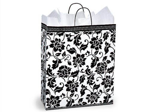 Pack Of 200, Queen 16 x 6 x 19'' Floral Brocade Gloss Paper Shopping Bags Made In USA by Generic