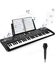 $49 » Heren 61 Keys Keyboard Piano, Electronic Digital Piano with Built-In Speaker Microphone, Sheet Stand and Power Supply, Portable Keyboard Gift Teaching for Beginners (Black)
