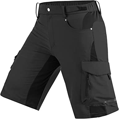 YOJOLO Mens Mountain Bike Shorts Cycling Shorts Waterproof Breathable Lightweight MTB Shorts Multiple Pockets Casual Shorts for Men,Black,M