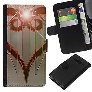 KLONGSHOP // Tirón de la caja Cartera de cuero con ranuras para tarjetas - Diseño tribal - Samsung Galaxy Core Prime //