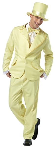 70s Costumes: Disco Costumes, Hippie Outfits Rasta Imposta Mens Retro Yellow 70S Funky Tuxedo Pastel Theme Party Costume $61.95 AT vintagedancer.com
