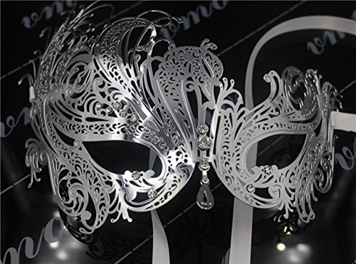 [Luxury Elegant Metal Laser Cut Venetian Ball Masquerade Party Mask (Silver)] (Dog Phantom Of The Opera Costume)