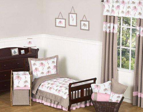 Sweet Jojo Designs Pink and Brown Mod Elephant Bed Skirt for Toddler Bedding Sets