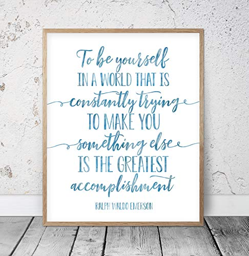 To Be Yourself In A World That Is Constantly Trying To Make You Something Ralph Waldo Emerson Quote Kids Room Decor Inspirational Quotes Wood Pallet Design Wall Art Sign Plaque with Frame wooden sign