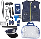 Police Uniform for Kids - 14-Piece Police Officer Costume Role Play Kit with Hat, Vest, Handcuffs, Bag, and Other Accessories for Pretend Play, Halloween Dress Up, School Play for Boys and Girls