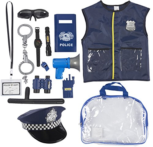 Girl Police Costume (Police Uniform for Kids - 14-Piece Police Officer Costume Role Play Kit with Hat, Vest, Handcuffs, Bag, and Other Accessories for Pretend Play, Halloween Dress Up, School Play for Boys)