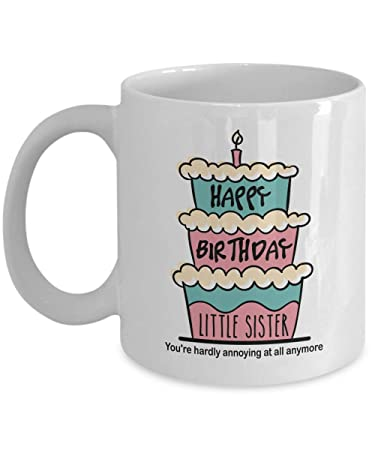 Amazoncom Happy Birthday Little Sister With Graphic Cake Candle