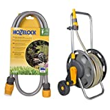 Hozelock Hose Connection - Colour May Vary & Hozelock 60 m Hose Cart with 50 m Hose and Connectors - Colour May Vary Set