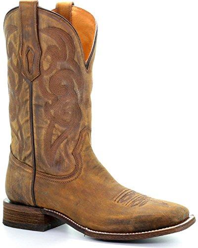 Corral Hombres Golden Bordado Cowboy Bota Square Toe Lt Brown 11 D