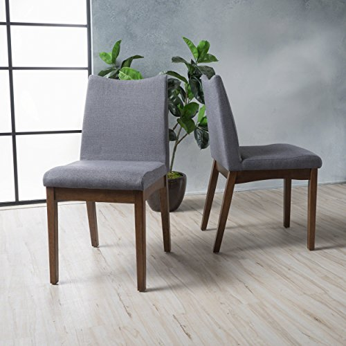 Gertrude Dark Grey Fabric with Walnut Finish Mid Century Modern Dining Chairs Set of 2