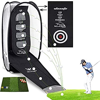 wosofe Golf Hitting Net Practice Target Chipping Training Aids Practice at Backyard Collapsible